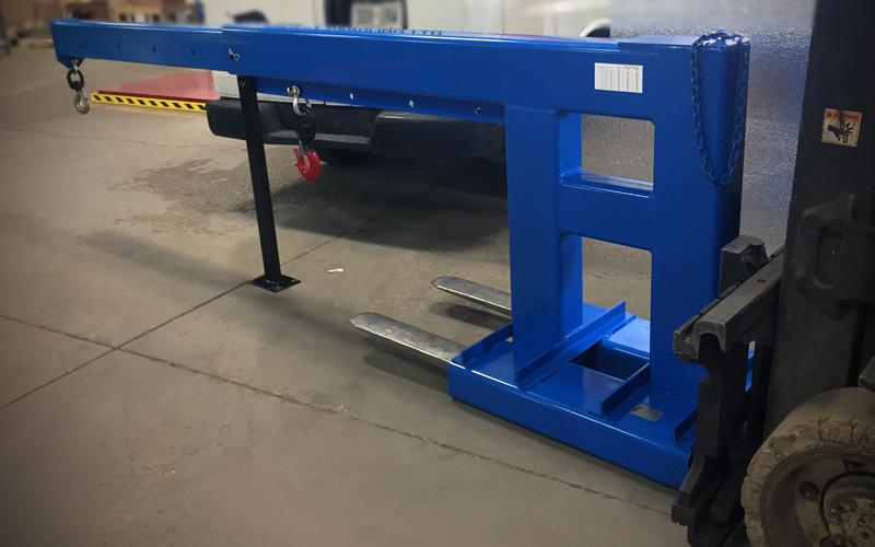 forklift crane boom on forklift - blue