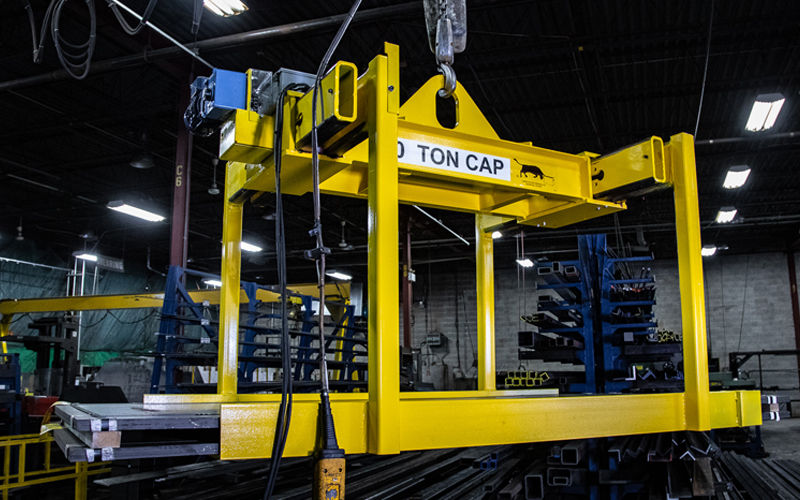 suspended 10 ton sheet lifter in use - yellow
