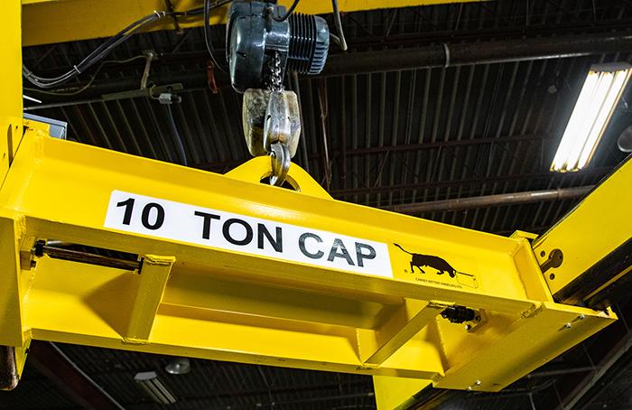 Close up - 10T sheet lifter yellow