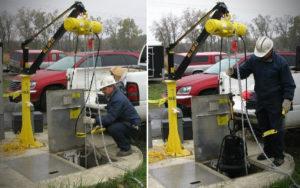 Pedestal crane - in use at site