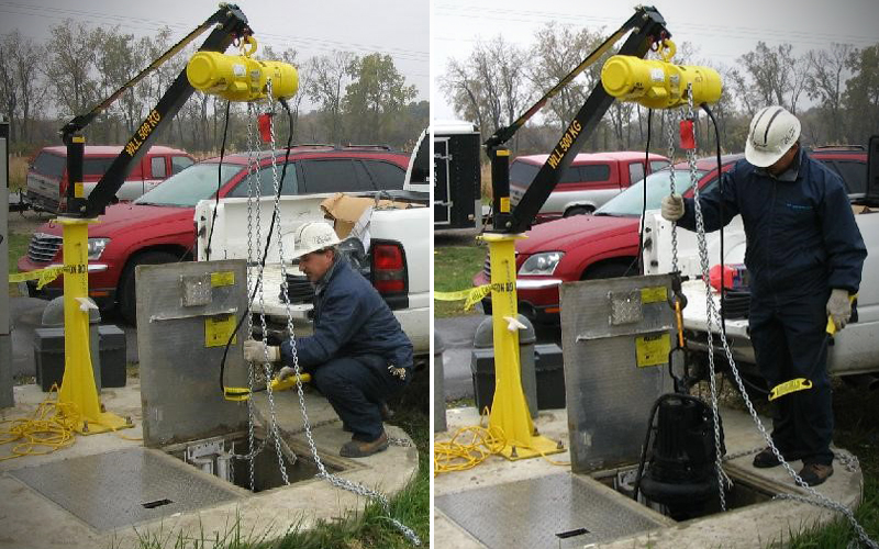 Pedestal Crane in Use - Yellow