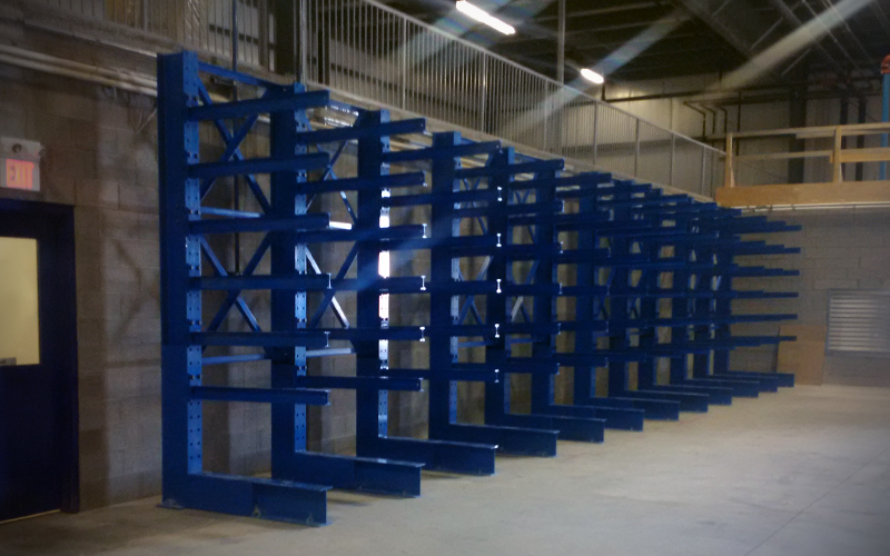 Cantilever racking - empty - blue